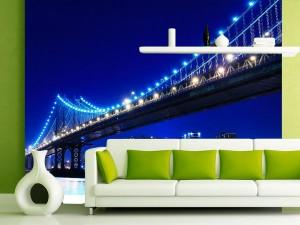 Fotomural Decorativo Nueva York Puente Brooklyn Cielo Nocturno