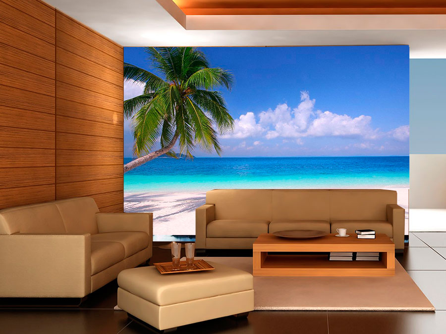Fotomural decorativo palmeras y playa fotomurales for Fotomurales decorativos