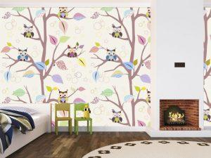 Fotomural Decorativo Infantil Bosque de Buhos