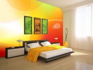 Fotomural Decorativo para Dormitorio: Burbujas Naranja