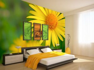 Fotomural Decorativo para Dormitorio: Flores Amarillas