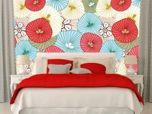 Fotomural Decorativo Diseños Abstractos: Flores rayadas