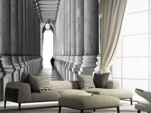 Fotomural Decorativo para Sala: Pasillo de Columnas