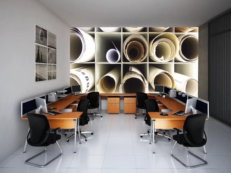Fotomural decorativo oficina planos de trabajo for Busco trabajo para limpieza de oficinas