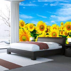 Fotomural Decorativo Girasoles y Cielo Azul