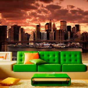 Fotomural Decorativo Atardecer Nueva York Puente Bahía