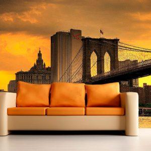Fotomural Decorativo Atardecer Nueva York Puente Brooklyn