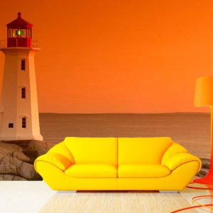 Fotomural Decorativo Faro Atardecer Naranja