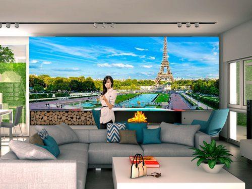fotomural paris torre eiffel 500x375 - Fotomurales de Ciudades y Urbanos