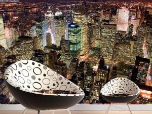Fotomural Decorativo Rascacielos Nocturnos Nueva York