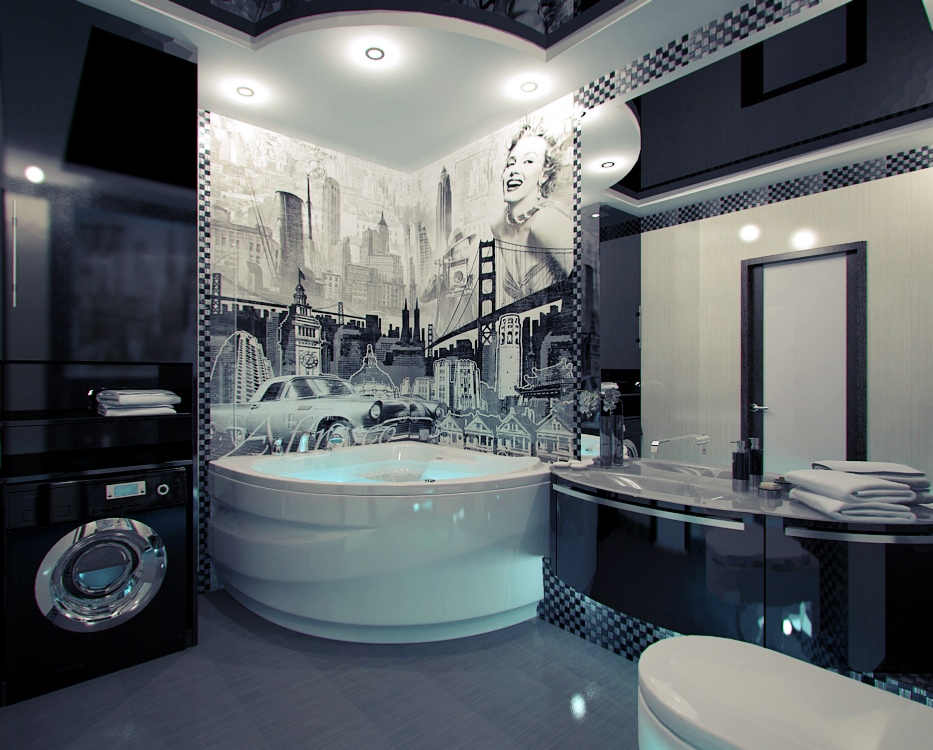 American-themed-mural-bathroom