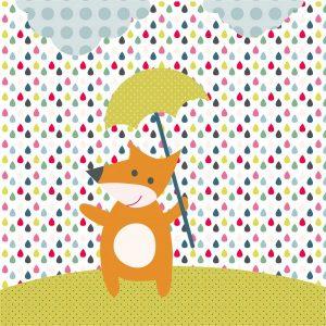 Fotomural Decorativo Infantil El zorro y la lluvia arcoiris