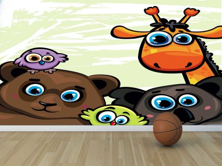 fotomural animales asomados 768x576 - Fotomurales & Papel Tapiz Infantiles