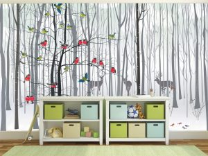Fotomural Decorativo Infantil Colibrís en el Bosque