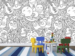 Fotomural Decorativo Infantil Doddles para colorear