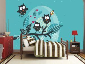 Fotomural Decorativo Infantil Buhos Nocturnos