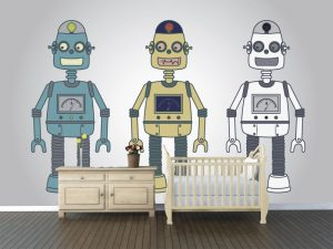 Fotomural Decorativo Infantil Amiguitos Robot
