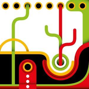 Fotomural Decorativo Diseños Abstractos: Verde y Rojo