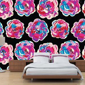 Fotomural Decorativo Diseños Abstractos: Flores tono violeta y azul