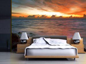 Fotomural Decorativo para Dormitorio: Atardecer en el Mar