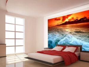 Fotomural Decorativo para Dormitorio: Atardecer Intenso