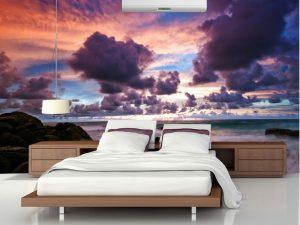 Fotomural Decorativo para Dormitorio: Atardecer Violeta