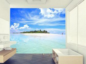 Fotomural Decorativo para Dormitorio: Azul de Mar y Cielo