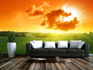 Fotomural Decorativo para  Sala: Cielo Naranja
