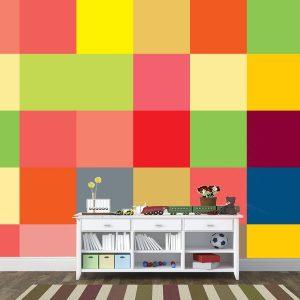 Fotomural Decorativo Diseños Abstractos: Cuadros colores mosaico