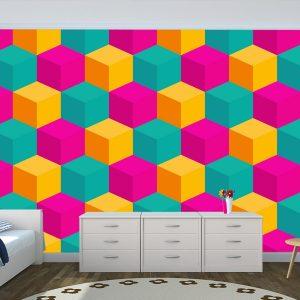 Fotomural Decorativo Diseños Abstractos:  Cubos rosas y amarillos
