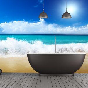 Fotomural Decorativo Baño: En la playa