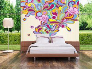 Fotomural Decorativo para Dormitorio: Explosión de Color