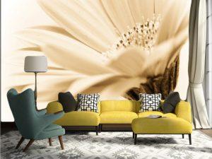 Fotomural Decorativo para Sala: Flor en Sepia