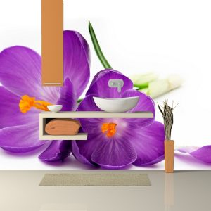 Fotomural Decorativo Baño: Flores violetas