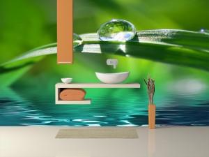 Fotomural Decorativo Baño: Rocío de lluvia