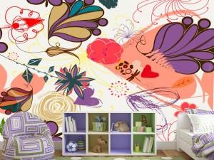 Fotomural Decorativo Diseños Abstractos: Juego de flores moradas