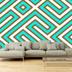 Fotomural Decorativo Diseños Abstractos: Laberintos azul