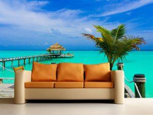 Fotomural Decorativo para Sala: Laguna Paradisiaca