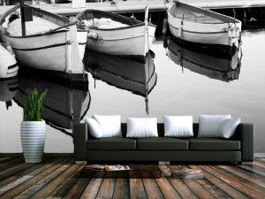 Fotomural Decorativo para Sala: Lanchas en Lago