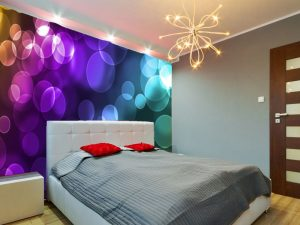 Fotomural Decorativo para Dormitorio: Luces azules