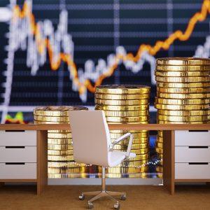 Fotomural Decorativo Oficina: Monedas de oro