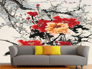 Fotomural Decorativo para  Sala: Pintura de Flores