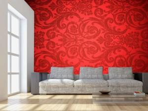 Fotomural Decorativo para Sala: Vintage Rojo