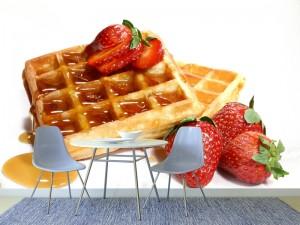 Fotomural Decorativo Cocina y Comedor: Waffles de Fresa