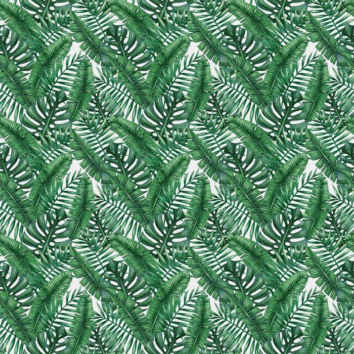Fotomurales Mexico Papel Tapiz lavables palmera tropical de la acuarela deja patron transparente ilustracion del vector 02 - Papel Tapiz Hojas Tropicales Tipo Acuarela en Fondo Blanco 07