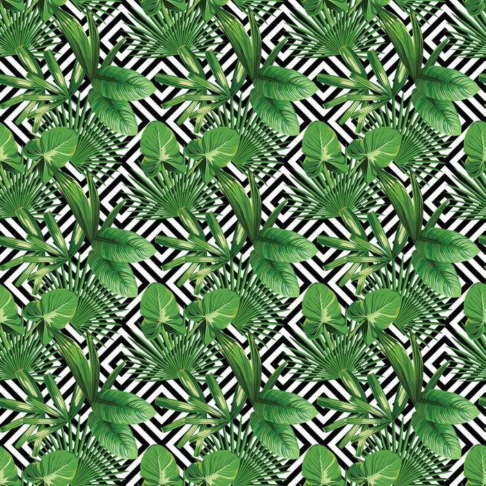 Fotomurales Mexico papeles pintados hojas de palmera tropical modelo fondo geometrico 1 - Papel Tapiz Palmera Fondo Geometrico