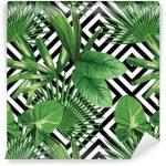 Fotomurales-Mexico-papeles-pintados-hojas-de-palmera-tropical-modelo-fondo-geometrico