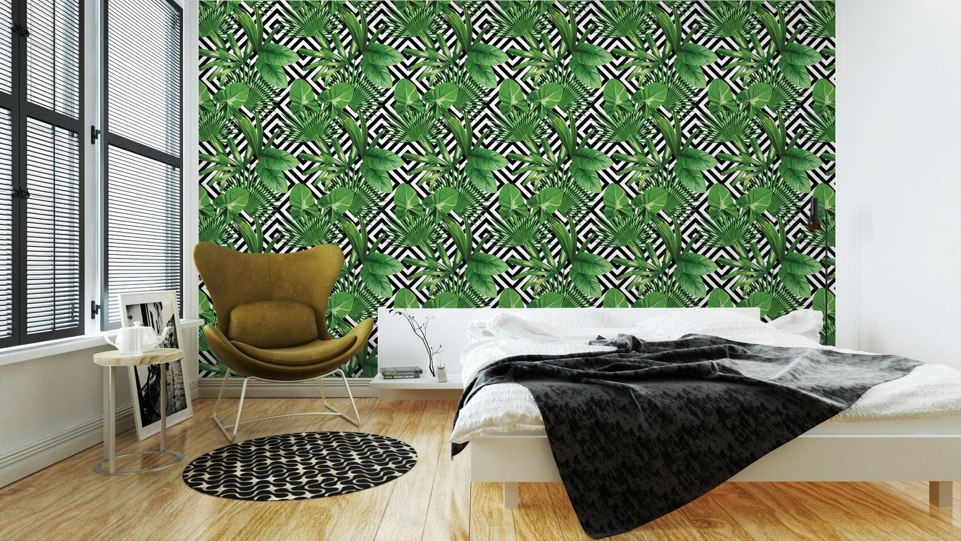 Fotomurales Mexico papeles pintados hojas de palmera tropical modelo fondo geometrico 2 - Papel Tapiz Palmera Fondo Geometrico