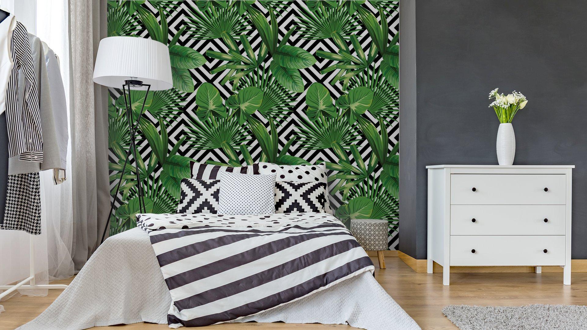 Fotomurales Mexico papeles pintados hojas de palmera tropical modelo fondo geometrico 3 - Papel Tapiz Palmera Fondo Geometrico