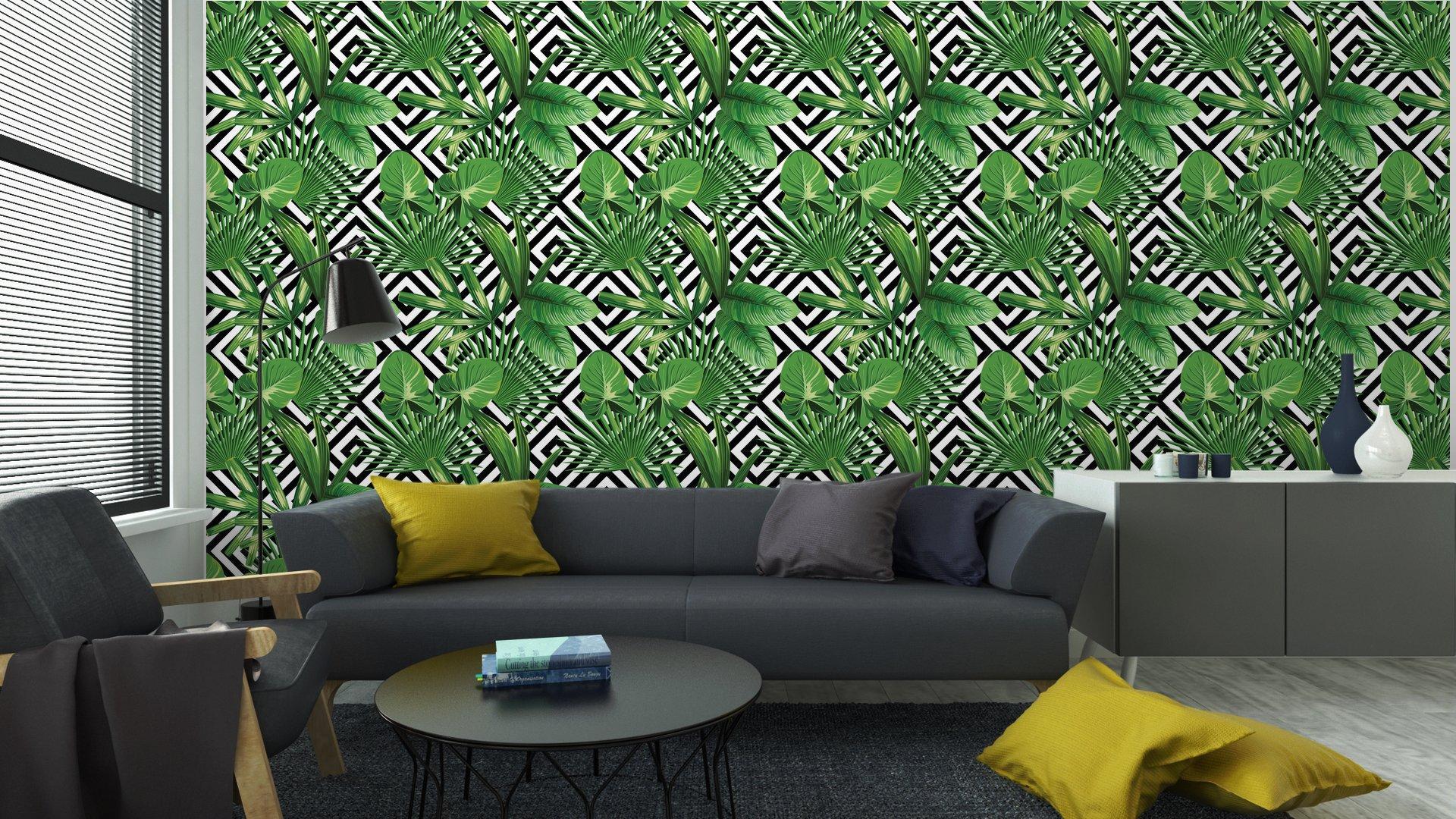 Fotomurales Mexico papeles pintados hojas de palmera tropical modelo fondo geometrico 4 - Papel Tapiz Palmera Fondo Geometrico